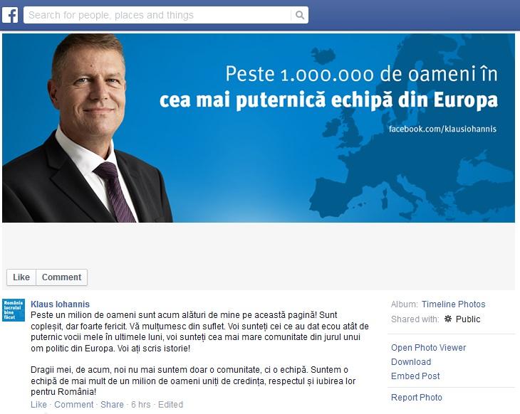 Klaus Iohannis Statement