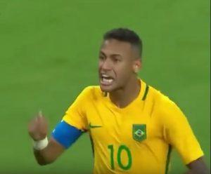 Neymar after his amazing free kick goal (capture: youtube)