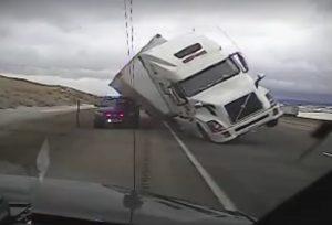 wyoming crosswind blowing truck