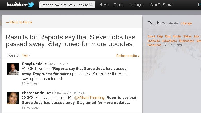 Steve jobs twitter tribute