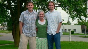 Aaron Collins, left, together with his mom Tina, and brother Seth. Aaaron died on July 7, but left behind an awesome will