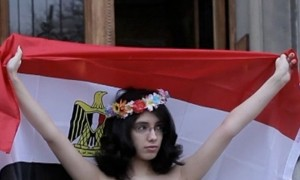 Aliaa Magda Elmahdy protested against Egypt's constitution in Sweden's capital of Stockholm on Thursday. Photo: femen.org