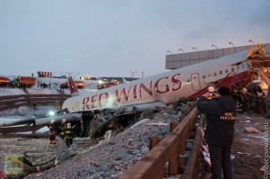 Wreckage: Red Wings jet breaks in three after crash landing. (Image from usolt.livejournal.com)