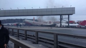 Red Wings Airlines Tupolev Plane Ran Off Runway and Crashed Near Freeway at Vnukovo Airport, in Russia. Photo: Twitter