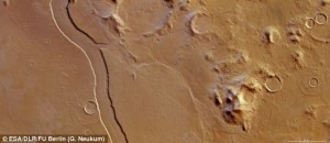 A channel with a width of 7 km and a depth of 300 meter is thought to have been formed by water that once ran on Mars surface
