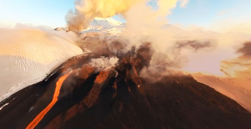 Kamchatka's Tolbachik volcano is one of the quartet currently erupting in proximity to each other. Photo: airpno.com