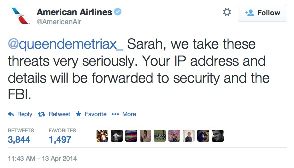 American Airlines responded indeed seriously