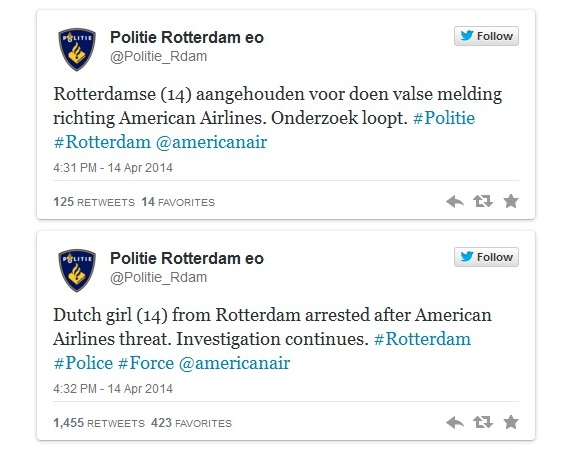 Dutch police confirmed girl's arrest in Twitter post