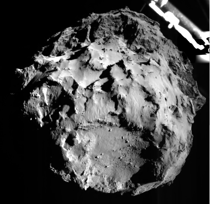 Comet 67P/C-G shown by Philae image during descent on 12 November 2014 at 14:38:41 UT, from a distance of approximately 3 km from the surface. The landing site is imaged with a resolution of about 3m per pixel. (Credits: ESA/Rosetta/Philae/ROLIS/DLR)