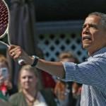 VIDEO: Barack Obama challenging Caroline Wozniacki on tennis court during Easter Egg Roll event