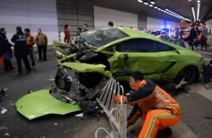 Fast and Furious Lamborghini ends up wrecked in Beijing (capture: youtube)