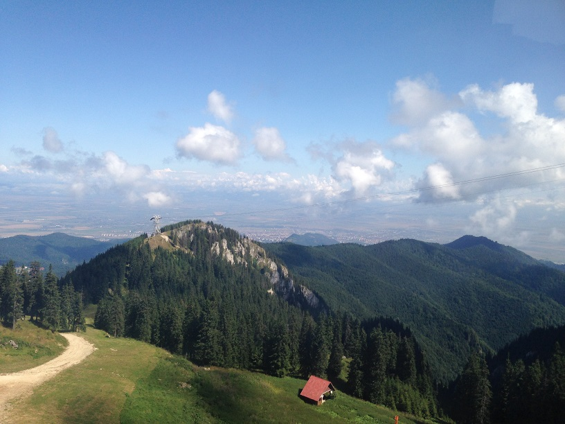 The Carpathians spotted from inside the cable car