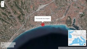 Boulevard des Anglais in Nice where the truck hit the crowd (pic: cnn.com)