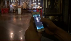 Russian vlogger hunting pokemons in church (pic: Sokolovsky/Youtube)