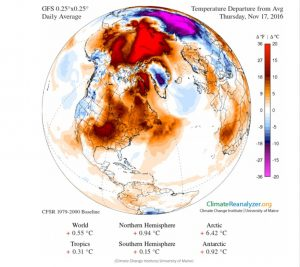 North Pole weather map